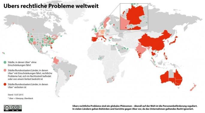 Eine von der Genossenschaft Taxi Deutschland zusammengestellte Infografik zeigt den Status von Ubers weltweiten Rechtsstreitigkeiten an. Stand der Grafik ist der 13. Juli 2015 (Grafik: Taxi Deutschland eG).