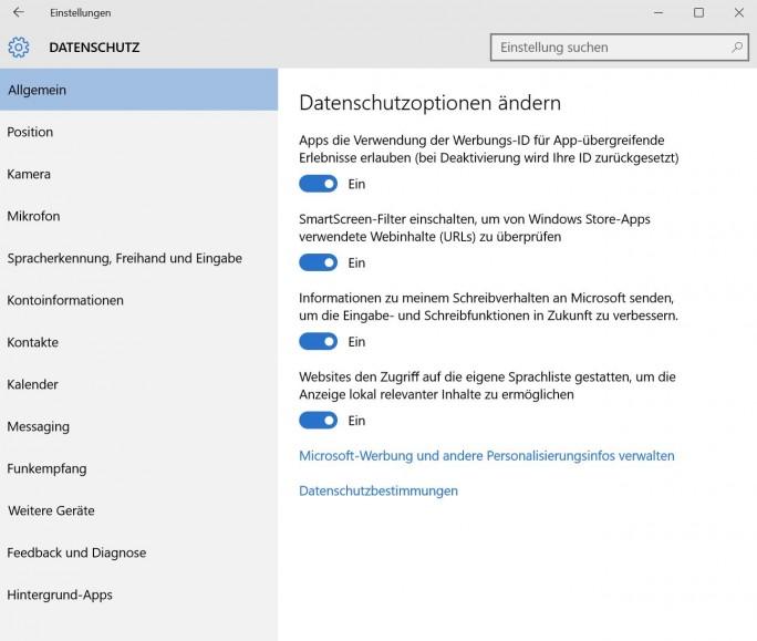 In den Datenschutz-Einstellungen lassen sich mit Schiebereglern auch beim SmartScreen-Filter Verbesserungen bezüglich der Sicherheit in Windows 10 vornehmen (Screenshot: Thomas Joos).