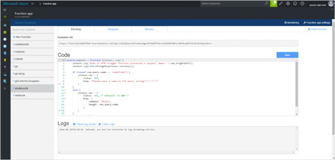 Azure Functions konkurriert mit AWS Lambda (Screenshot: Microsoft).