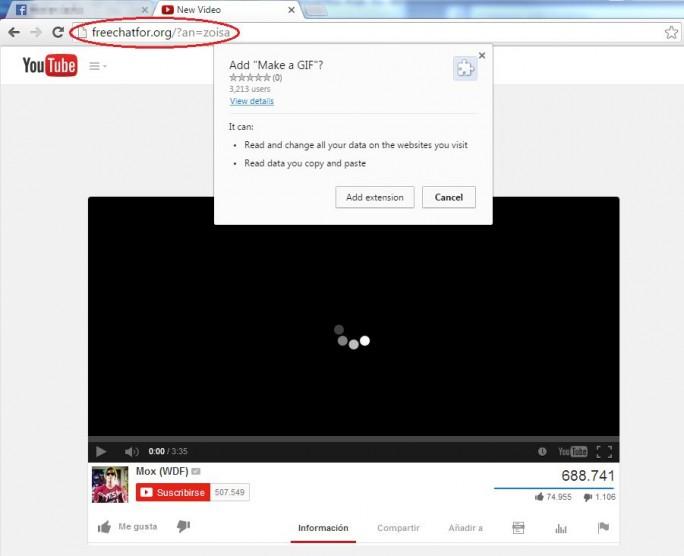 Die Fake-Videos bei Facebook sollen Nutzer verleiten, eine gefährliche Erweiterung für Chrome zu installieren (Bild: Eset).