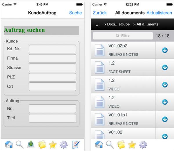 Doxis4 mobileCube auf dem iPhone (Bild: SER)