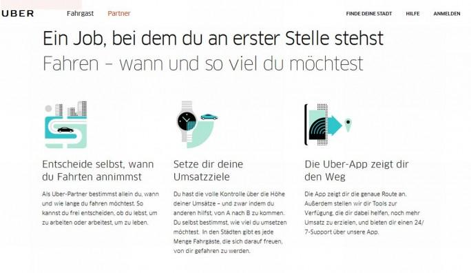 So wirbt Uber auf seiner Website um Geschäftspartner. Der Alltag scheint den Versprechungen dann jedoch nicht zu entsprechen (Screenshot: silicon.de).