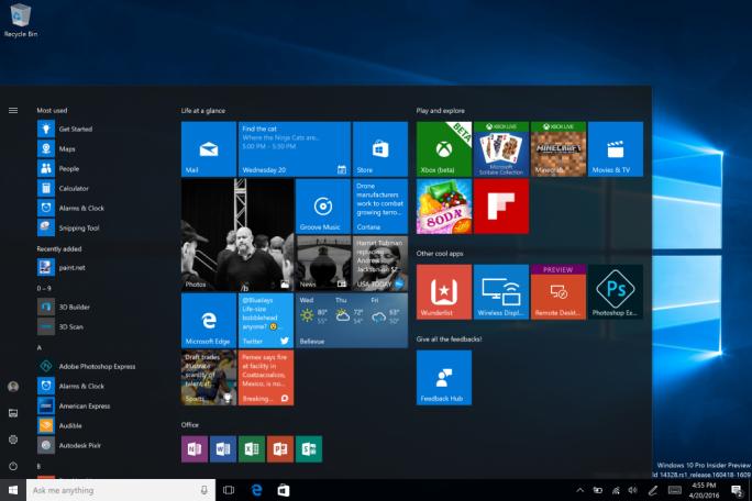 Das überarbeitete Startmenü in Windows 10 (Bild: Microsoft).