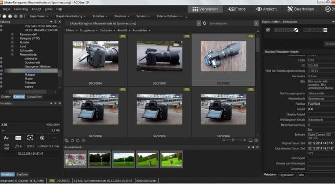 Bildverwaltungsprogramme wie ACDSee 19 suchen bei Bedarf nach den Fotos, die mit einer bestimmten Belichtungseinstellung gemacht wurden, etwa alle Fotos, die mit Spotmessung entstanden (Screenshot: Mehmet Toprak).