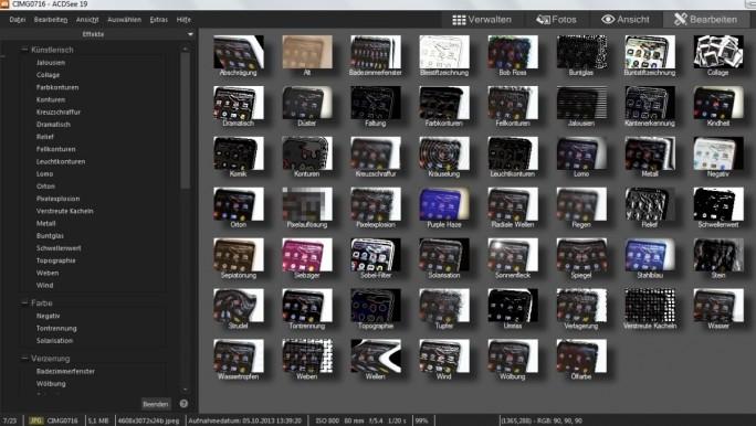 Beim Verschönern der Bilder zeigt sich ACDSee 19 als ausgewachsene Bildbearbeitung, die beispielsweise eine Vielzahl von Effektfiltern zur Verfügung stellt (Screenshot: Mehmet Toprak).