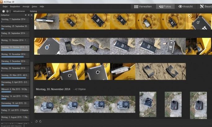 In dieser Ansicht erscheinen die Bilder in ACDSee 19 chronologisch geordnet (Screenshot: Mehmet Toprak).