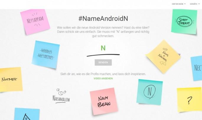 Auf einer speziell dafür eingerichteten Website nimmt Google jetzt Vorschläge für den endgültigen Namen von Android N entgegen (Screnshot: silicon.de).