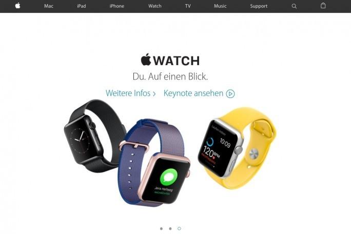 Schön, aber trotzdem übersichtlich: die aktuelle Homepage von Apple (Screenshot: Mehmet Toprak).