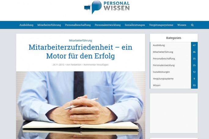Das Dauerthema Mitarbeiterzufriedenheit beschäftigt auch die Betreiber der Website Personalwissen (Screenshot: Mehmet Toprak) .