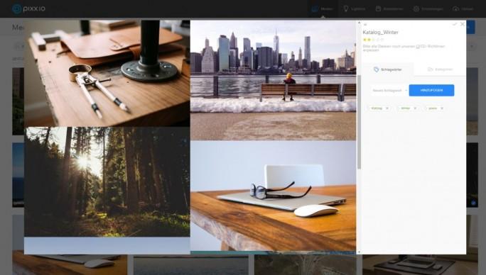 Das Start-up Pixx.io wurde erst 2015 gegründet. Dementsprechend schlicht und aufgeräumt wirkt die Bedienoberfläche der Bild- und Medienverwaltungs-Software (Screenshot: Pixx.io).