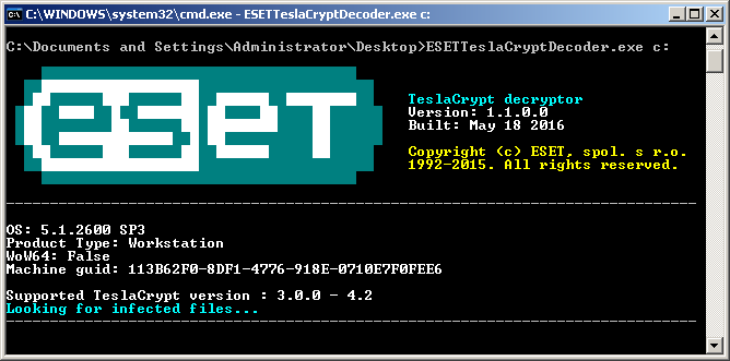 TeslaCryptDecryptor (Screenshot: Eset)