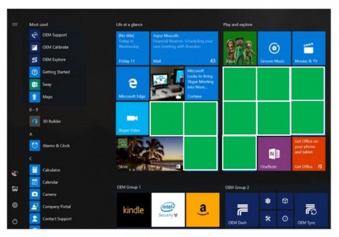 Die derzeit geplante, neue Verteilung von Kacheln auf dem Windows-10-Startbildschirm (Scrreenshot: silicon.de).