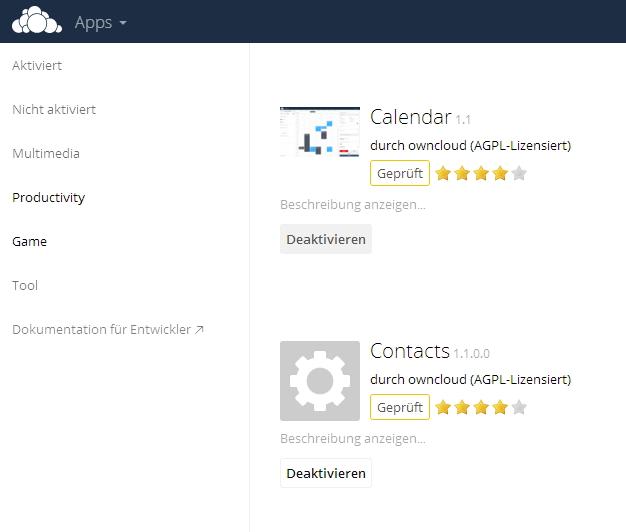 Kontakte und Kalender werden als zusätzliche App in ownCloud aktiviert. (Screenshot: Thomas Joos)