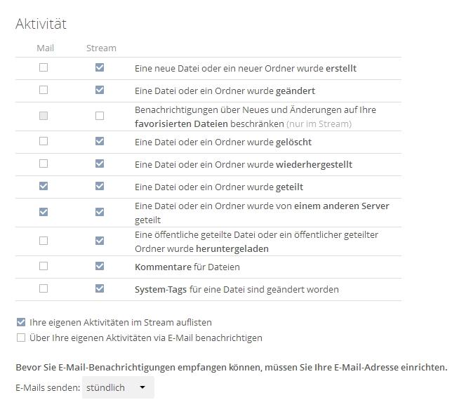 Benutzer können sich Systemnachrichten per E-Mail zustellen lassen. Die Einstellungen dazu sind im eigenen Benutzermenü zu finden. (Screenshot: Thomas Joos)