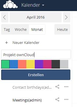 Jeder Benutzer kann neue Kalender erstellen und so Termine optimal koordinieren.  (Screenshot: Thomas Joos)