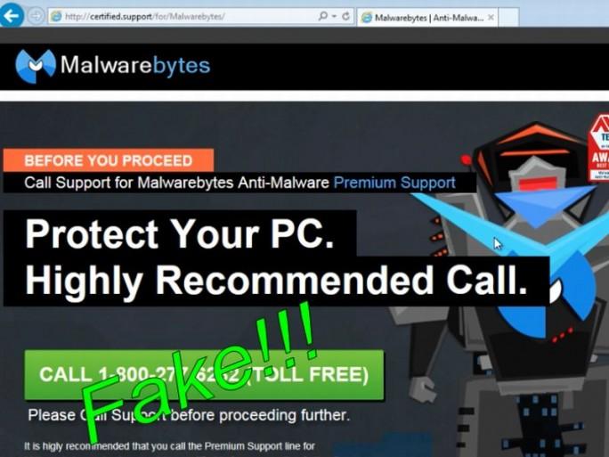 Die von Tech Kangaroos gefälschte Support-Site für Kunden von Malwarebytes (Screenshot: Malwarebytes).