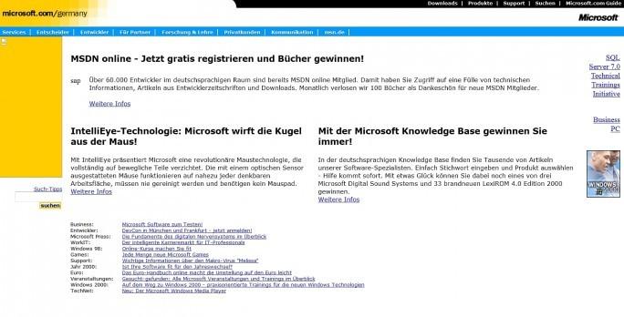 Nicht besonders schön, dafür übersichtlich: Microsofts Auftritt vom Mai 1999. (Screenshot: Internet Archive Wayback Machine).