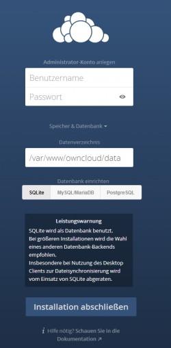 Im Rahmen der Einrichtung kann auch die Datenbank ausgewählt werden, die ownCloud nutzen soll. (Screenshot: Thomas Joos)