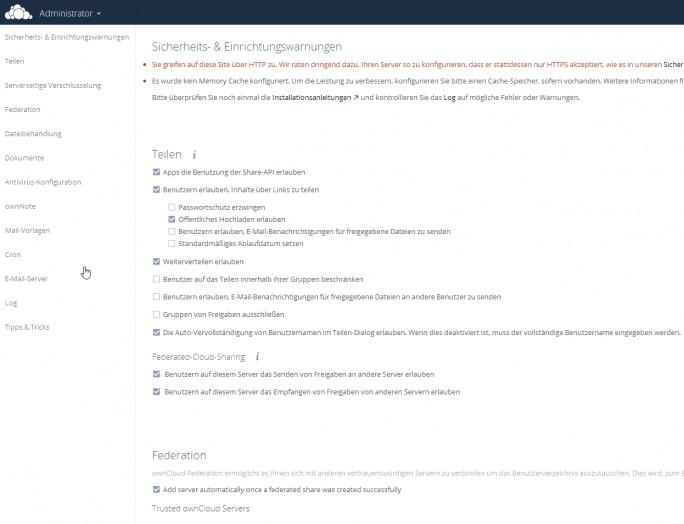 Über die Administrator-Oberfläche können Administratoren die Umgebung anpassen. (Screenshot: Thomas Joos)
