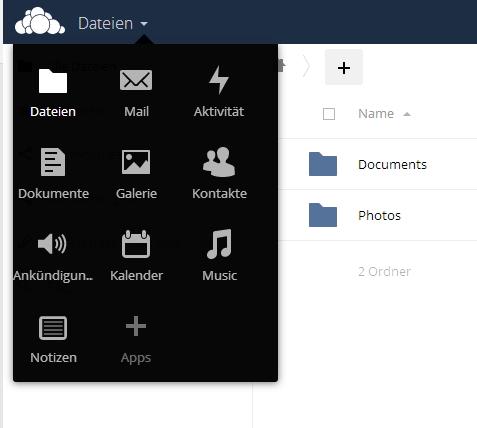 Über das Dropdown-Menü am linken oberen Rand, stehen die verschiedenen Funktionen von ownCloud 9 bereit. (Screenshot: Thomas Joos)