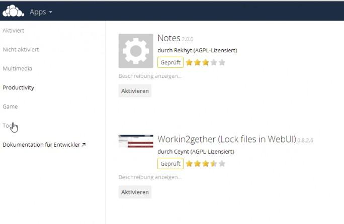Über den App-Bereich in der Weboberfläche lassen sich zusätzliche Funktionen in ownCloud integrieren. (Screenshot: Thomas Joos)