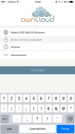 Nach der erfolgreichen Anbindung des Servers und der Authentifizierung des Benutzers, wird die App an ownCloud angebunden. (Screenshot: Thomas Joos)