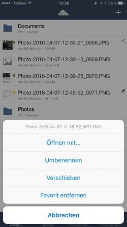 Auch in der iPhone-App lassen sich Dateien in ownCloud verwalten. (Screenshot: Thomas Joos)