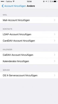 Auf iPhones lassen sich CardDAV- und CalDAV-Konten einrichten, mit denen Anwender Kontakte und Termine mit dem ownCloud-Server synchronisieren können. (Screenshot: Thomas Joos)