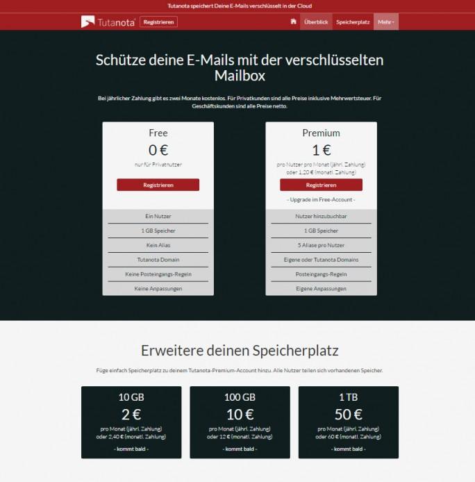 Tutanota ist als kostenlose Free-Version erhältlich oder in der Premium-Variante ab 12 Euro pro Jahr (Screenshot: Silicon.de)