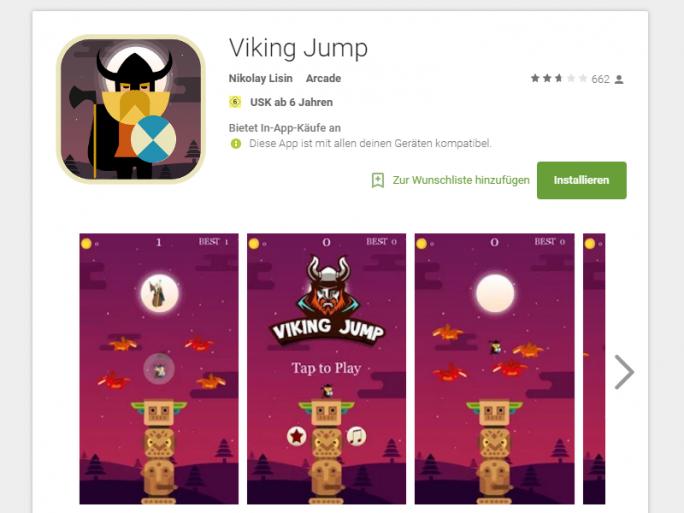 """Das im Play Store erhältliche Spiel """"Viking Jump"""" gehört zu den Apps, die Googles Malware-Scans umgehen konnten und nach dem Download die Malware """"Viking Horde"""" auf Android-Geräten installieren (Screenshot: ZDNet.de)."""