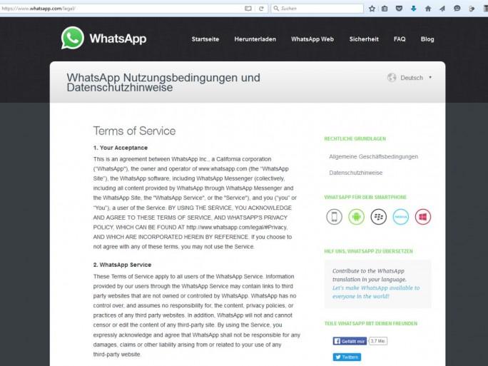 Die WhatsApp-Website für deutsche Nutzer am 17. Mai 2015: Da lediglich die Überschrift übersetzt wurde, sind nach Auffassung des Kammergerichts Berlin sämtliche Klauseln unwirksam (Screenshot: silicon.de)