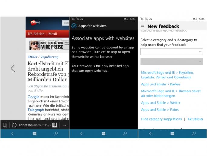 """Build 14342 bringt Wischgesten für Edge, bereitet Windows 10 Mobile auf die Funktion """"Apps für Websites"""" vor und schlägt bei der Eingabe von Feedback Kategorien und Unterkategorien vor (Screenshot: ZDNet.de)"""