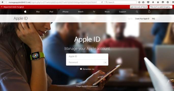 Indem sie Nutzer unter einem Vorwand auf imitierte Apple-Webseiten locken, versuchen Kriminelle seit Anfang des Jahres verstärkt, Apple ID und zugehörige Daten auszuspähen (Screenshot. Fireeye).