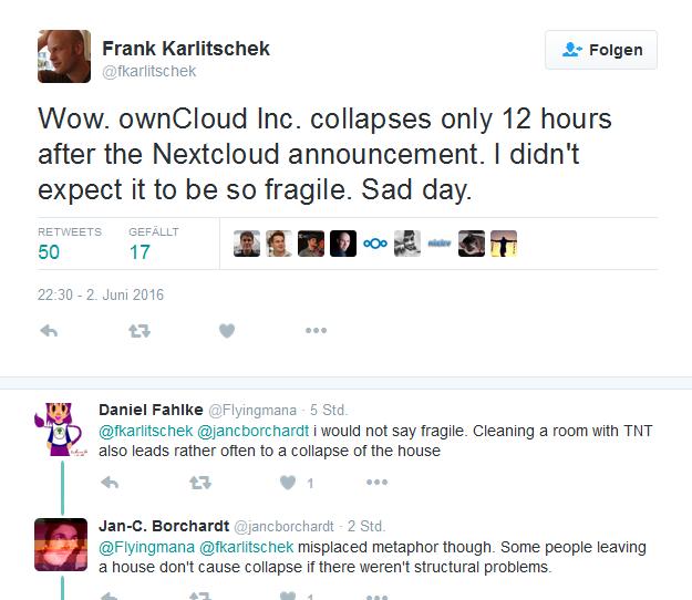 Die Auseinandersetzung zwischen ownCloud und Nextcloud hat bereist das erste Opfer gefordert: Die ownCloud Inc in den USA (Screenshot: silicon.de bei Twitter).