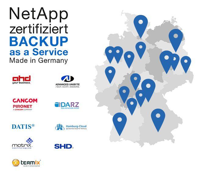 Überblick über die als BaaS-Partner von NetApp zertifizierten Firmen und deren Standorte in Deutschland. (Screenshot: silicon.de)