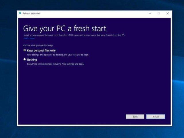 PC fresh start (Screenshot: Microsoft)