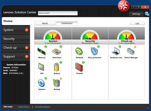 Das Lenovo Solution Center. Mit Version 3.3.003 behebt der Hersteller weitere Lecks. (Bild: Lenovo)