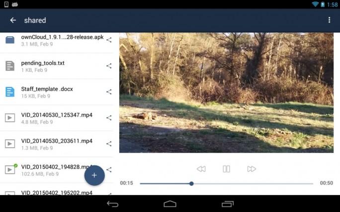 Version 2.0.1 der Android- App von ownCloud auf einem Tablet. (Screenshot: ownCloud)