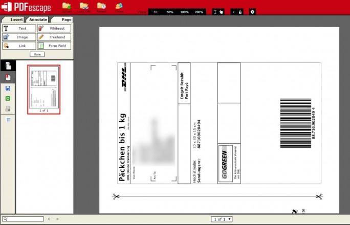 Mit PDFescape lassen sich PDFs erstellen und bearbeiten ohne Software installieren zu müssen. (Screenshot: Christian Lanzerath)