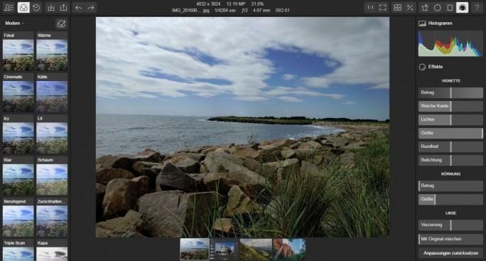 Der Online-Dienst Polarr nutzt WebGL, um Interface sowie Funktionen zu realisieren. Alle modernen Browser unterstützen diesen Standard. (Screenshot: Christian Lanzerath)