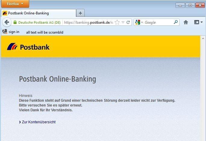 Ausfälle bei Online-Diensten von Banken, hier der Postbank, sind für Kunden immer ärgerlich. Halten sie wie bei den nun drohenden DDoS-Attacken der Gruppe Kadyrovtsy aber länger an, kann dadurch erheblicher Schaden entstehen (Screenshot: silicon.de).