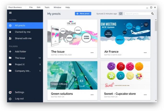 Prezi Business bietet alle Funktionen der herkömmlichen Prezi Plattform, bringt aber für Firmen wichtige Erweiterungen mit (Screenshot: Prezi).