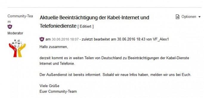 Vodafone hat die Störung im Fest- und Kabelnetz inzwischen auch offiziell eingeräumt (Screenshot: silicon.de)