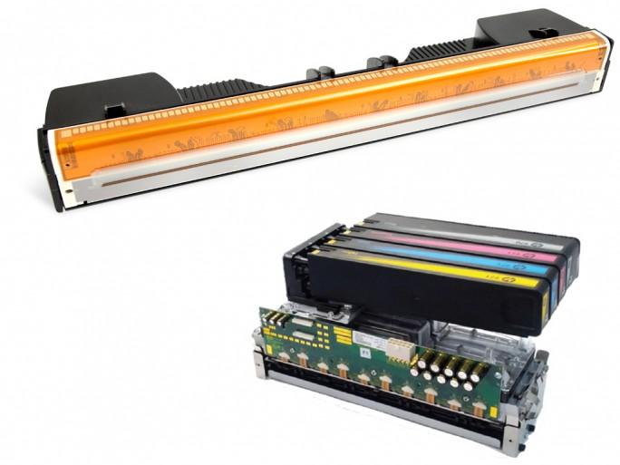 Die umstrittenen, seitenbreite Druckköpfe von Memjet (oben) und HP (Bild: silicon.de mit Material von Memjet und HP).