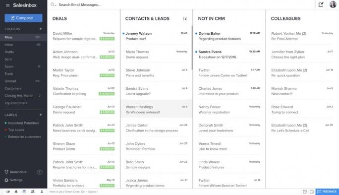 Eine wesentliche Neuerung bei Zoho ist die sogenannte SalesInbox, die E-Mail und CRM-System verknüpft. (Screenshot: Zoho)