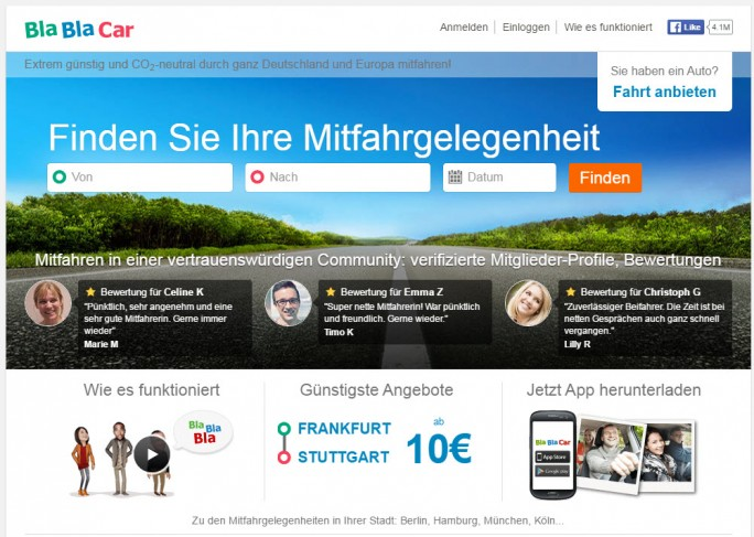 Blablacar (Screenshot: silicon.de)