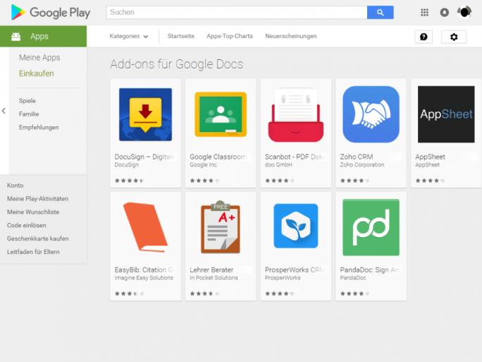 Google bietet im Play Store ab sofort Add-ins für Google Docs und Tabellen an (Screenshot: silicon.de)