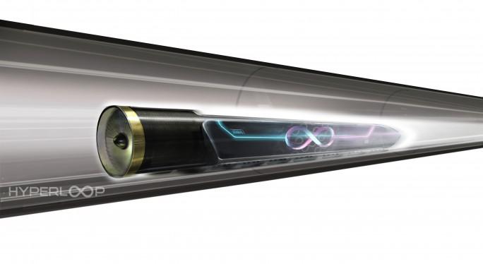 So sieht die Zukunftsvision aus: Ein Zug fährt in einer Röhre mit bis zu 1200 km/h. (Bild: Hyperloop One)
