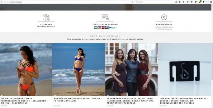 """Hitzschlag trotz UV-Sensor in der Bademode - ist sowas möglich? Die Überschriften der Website von Spinali Design sind ein starker Indikator, dass die Antwort """"Ja"""" lautet. (Screenshot: silicon.de)"""