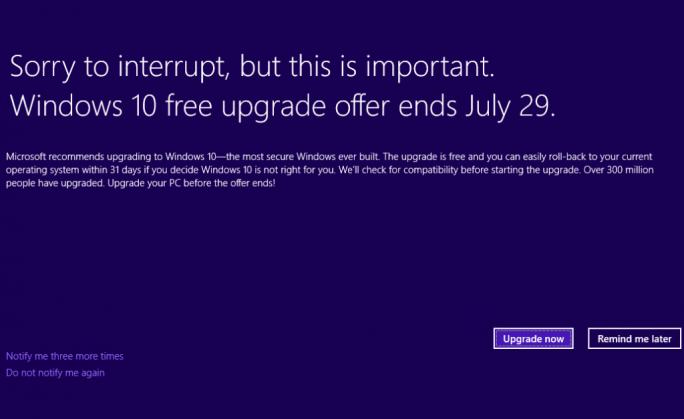 Microsoft erinnert Nutzer erneut daran, dass das kostenlose Upgrade auf Windows nur noch bis zum 29. Juli erhältlich ist (Bild: MIcrosoft).